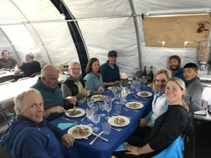 Celebratory dinner at Union Glacier, Antarctica